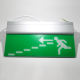 Noodverlichting rechthoekig (176x363mm)<br>Pictogram nooduitgang trappen